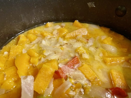 Sweet potato and coconut soup (before blending)