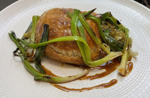 Guinea fowl & tarragon pithivier, spring leeks & Madeira sauce