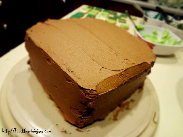 chocolate-frosted-square-cake
