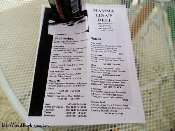 mamma lina's menu - 1