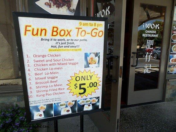 Fun Box sign at iWok