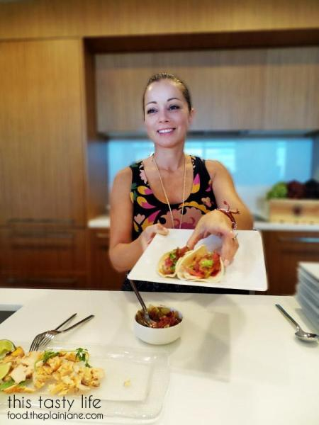 Chef Marcela with Salmon Tacos / California Grapes