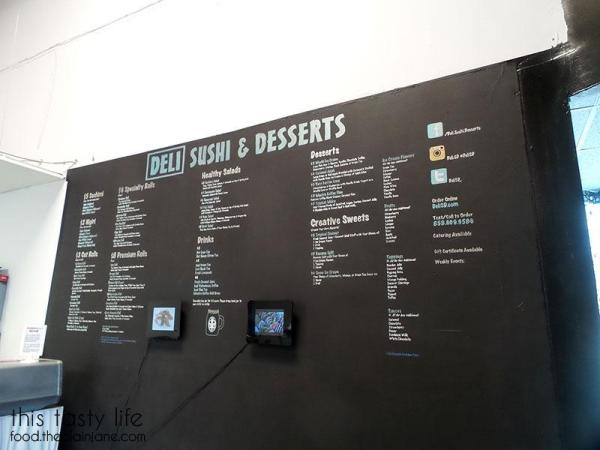 Menu at Deli Sushi and Desserts in San Diego / This Tasty Life