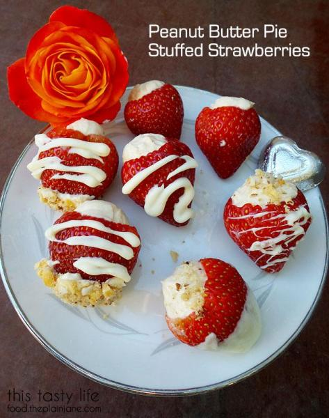 Peanut Butter Pie Stuffed Strawberries - An easy, delicious treat for Valentine's Day using Driscoll's Strawberries. By This Tasty Life | http://food.theplainjane.com #ValentinesDay