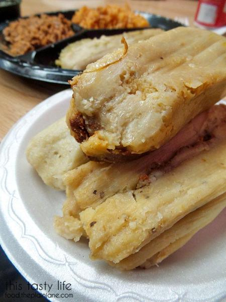 Unwrapped, naked tamales at Tamales Ancira | This Tasty Life  - San Diego food blog