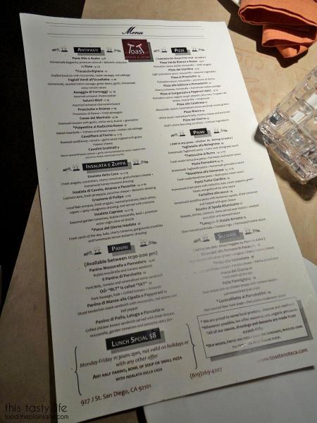Menu | Toast Enoteca - East Village/Downtown San Diego