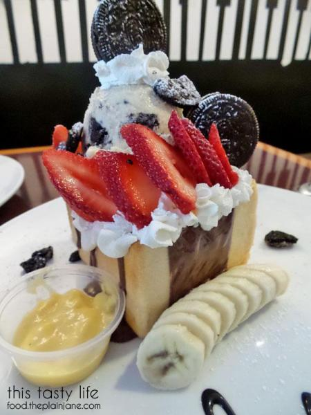 I Love NY Dessert - Shibuya Honey Brick Toast with ice cream, bananas, strawberries, nutella, oreos and more at T-Pop Desserts & More | San Diego, CA