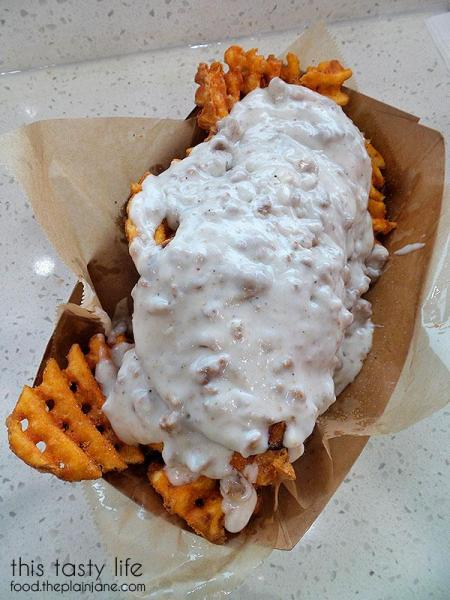 Breakfast Fries with Eggs and Sausage Gravy | Funky Fries and Burgers in El Cajon