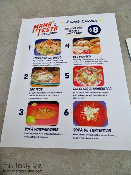 Lunch Menu | Mama Testa Tacqueria - San Diego, CA