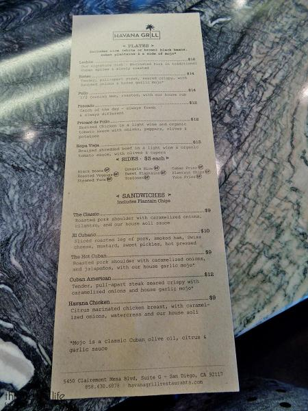 Menu at Havana Grill | San Diego, CA / This Tasty Life