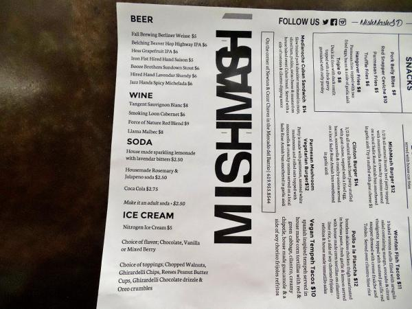 Drinks and Desserts Menu | MishMash - San Diego, CA | This Tasty Life