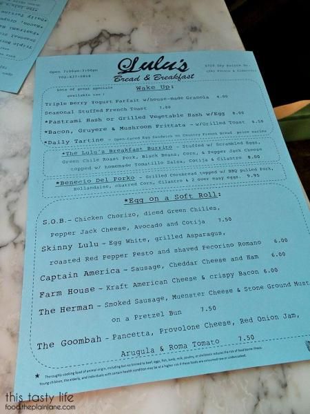 Breakfast Menu at Lulu's Bread & Breakfast | Las Vegas, NV | This Tasty Life - http://food.theplainjane.com