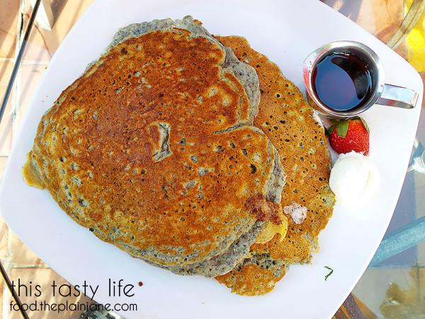 Blue Cornmeal Flapjacks at Parkhouse Eatery | University Heights - San Diego, CA | This Tasty Life - http://food.theplainjane.com