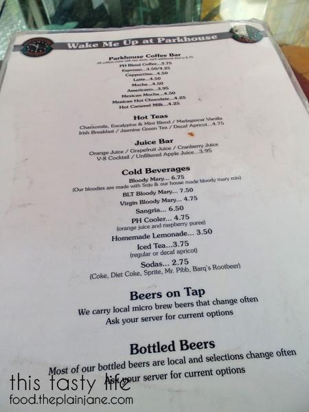 Drink Menu at Parkhouse Eatery | University Heights - San Diego, CA | This Tasty Life - http://food.theplainjane.com