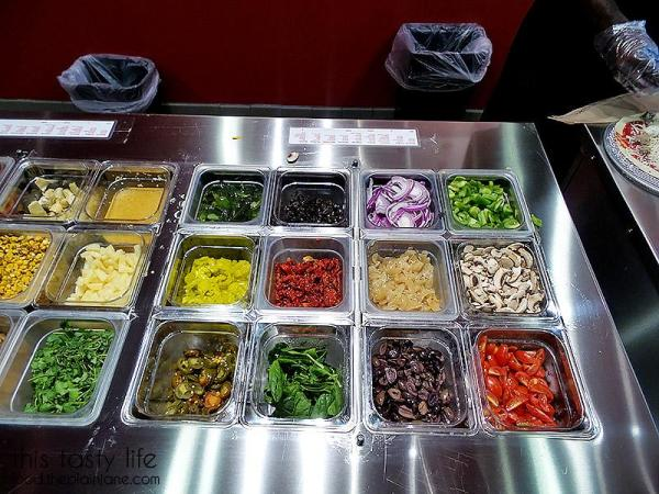Lots of veggie toppings to choose from when creating your own pizza at Pizzanometry | Mira Mesa / San Diego, CA / This Tasty Life - http://food.theplainjane.com