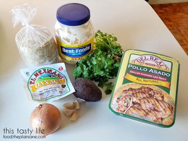 All the stuff you need to make a quesataco with Cilantro Garlic Sauce