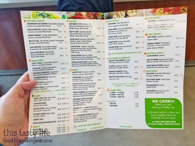 Menu at Lean and Green Organic Health Bar in San Diego