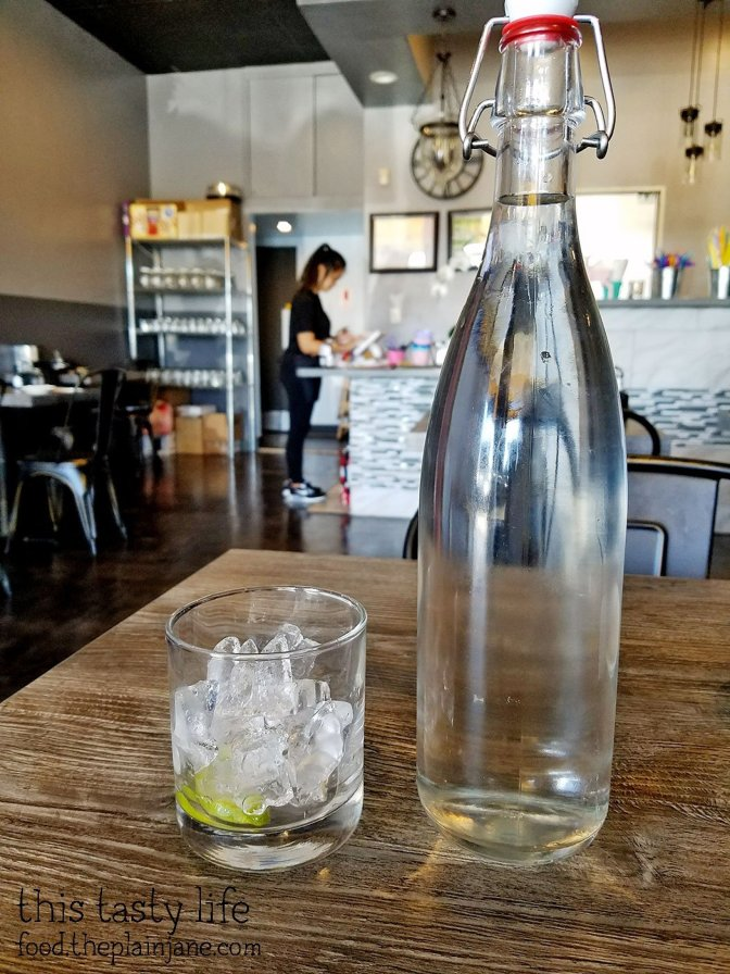 Bottled water at Facing East Noodle & Bar - San Diego, CA