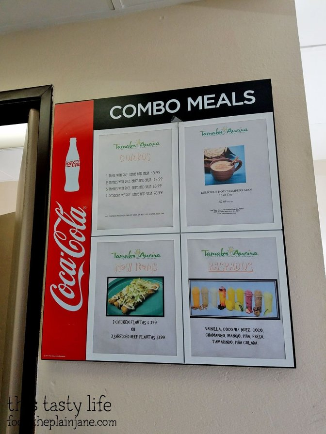 Combo Menu at Tamales Ancira - Chula Vista, CA - This Tasty Life