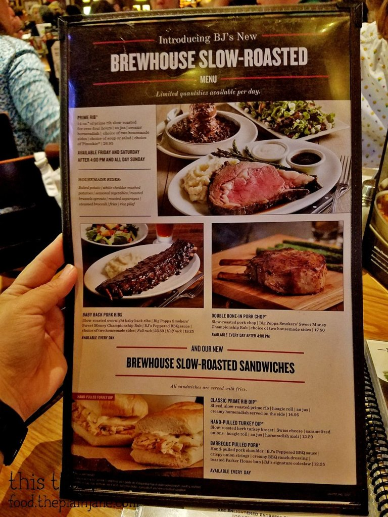 BJ's Brewhouse Slow Roasted Menu