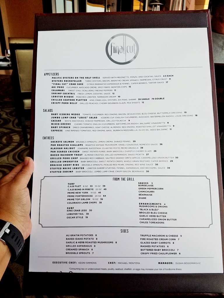 Menu at Final Cut at Hollywood Casino Jamul
