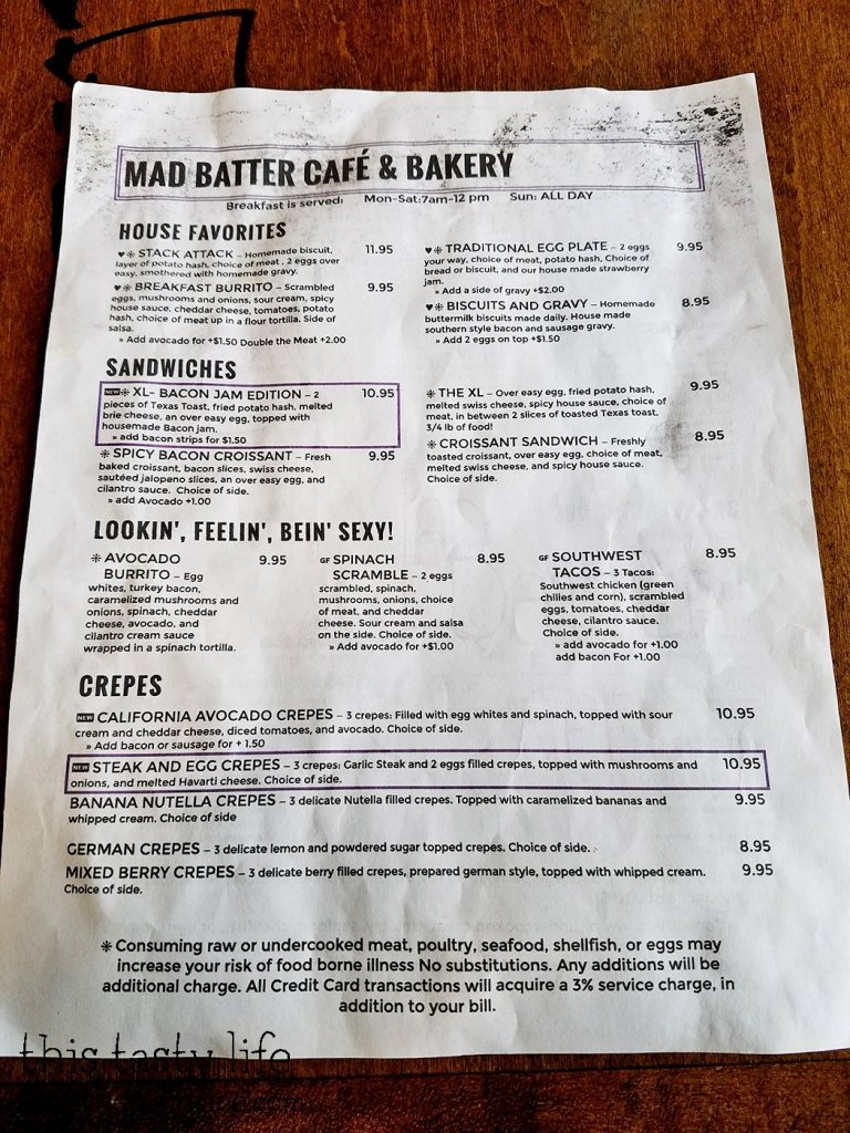 Menu at The Mad Batter Cafe - Henderson, NV