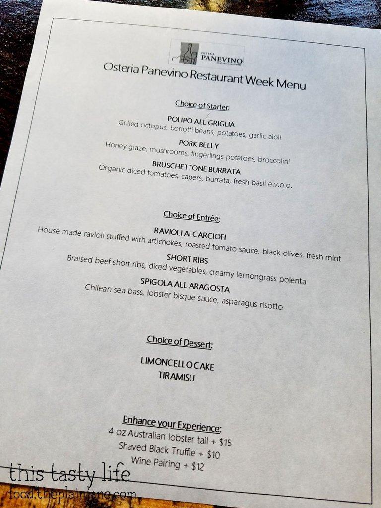 Osteria Panevino San Diego Restaurant Week Menu