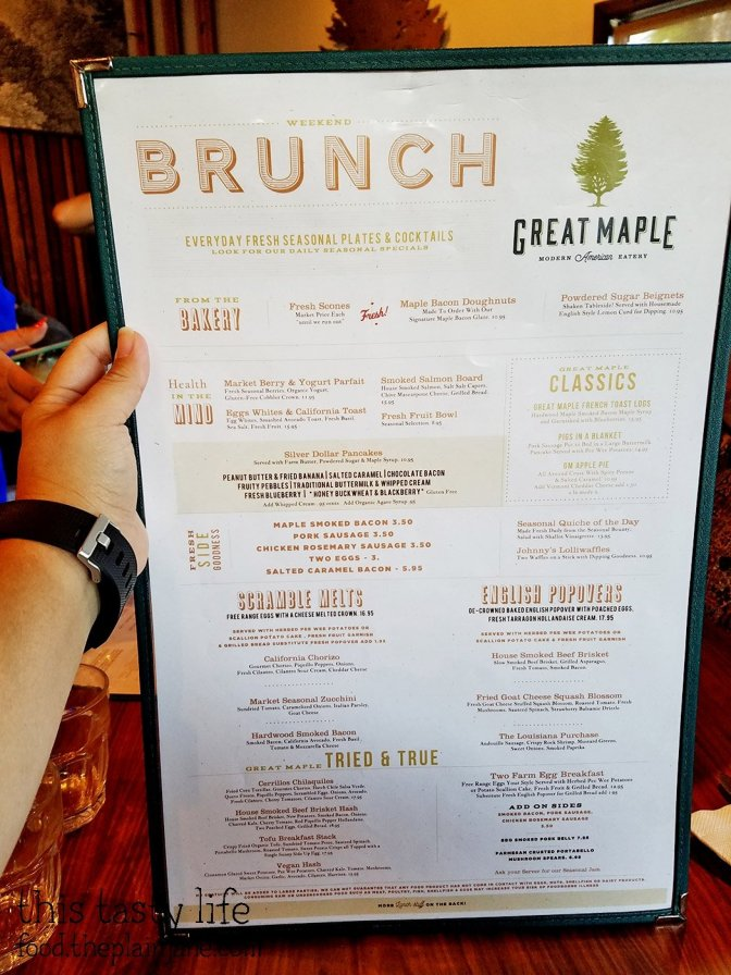 Brunch Menu at Great Maple - San Diego, CA