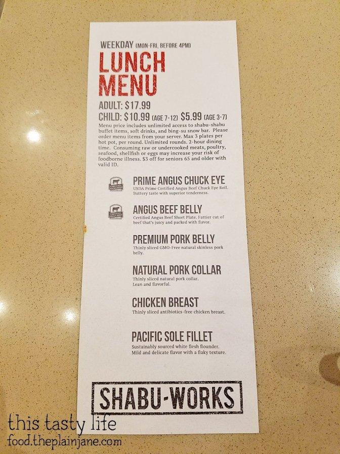 Weekday Lunch Menu - Shabu Works - Mira Mesa - San Diego, CA