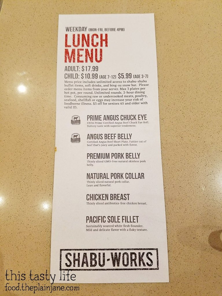 Weekday Lunch Menu - Shabu Works - Mira Mesa - San Diego, CA