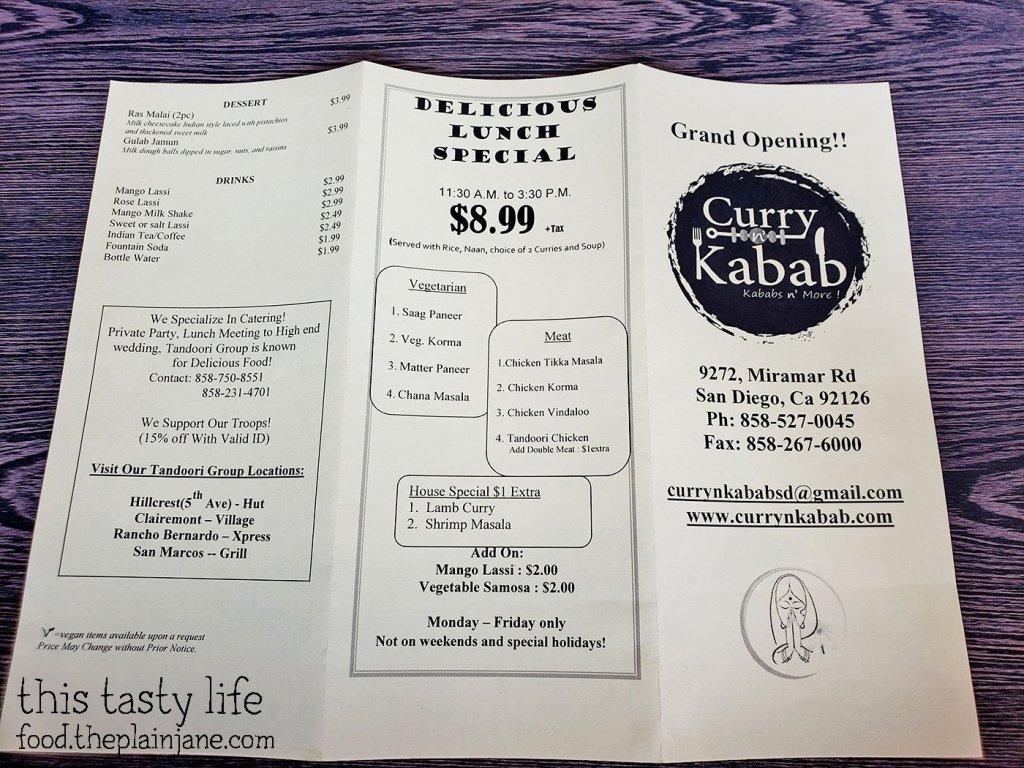 Menu at Curry N Kabab - San Diego, CA