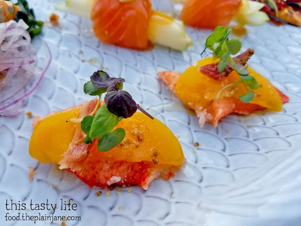 Peach Lobster Crudo at Fishmonger's Market in San Diego, CA