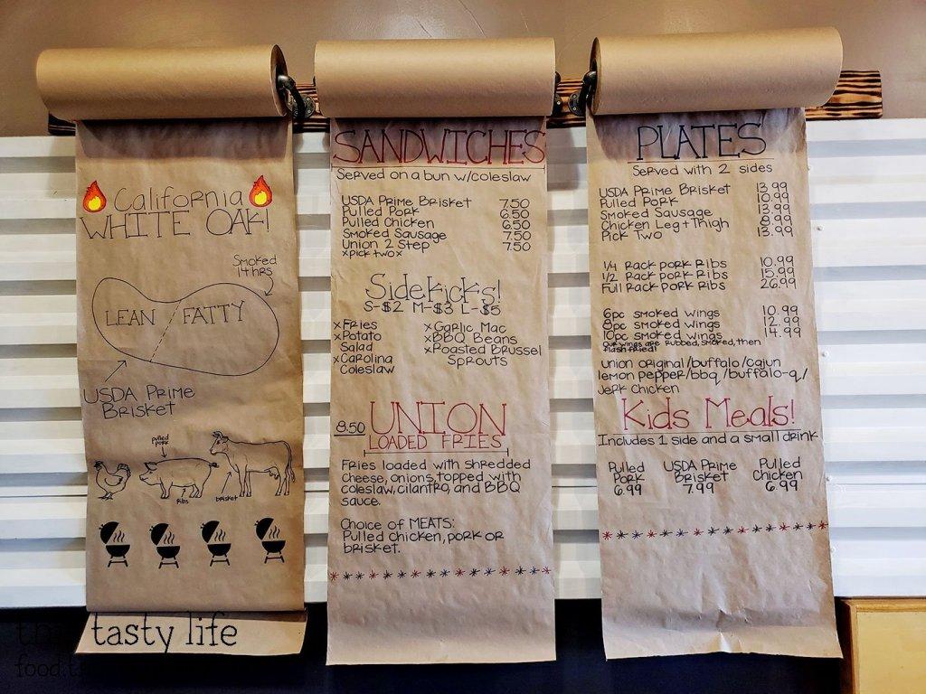 Menu at Union Smokehouse BBQ - San Diego, CA