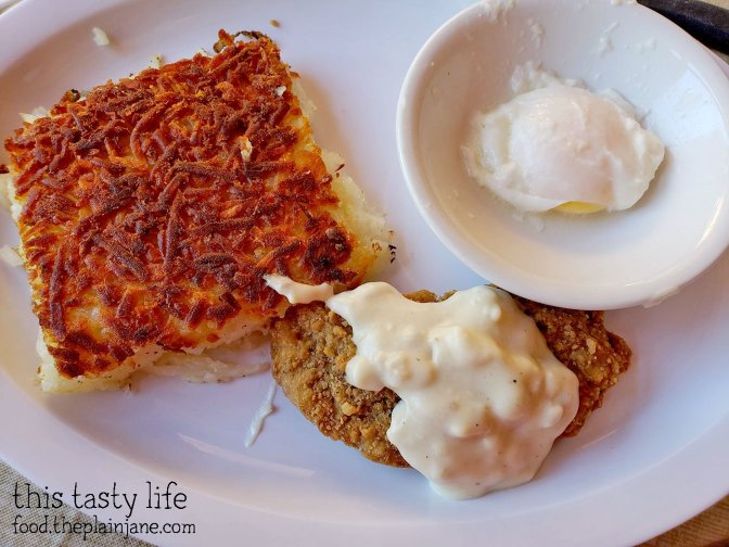 Chicken Fried Steak breakfast, split, at Janet's Montana Cafe - Alpine, CA