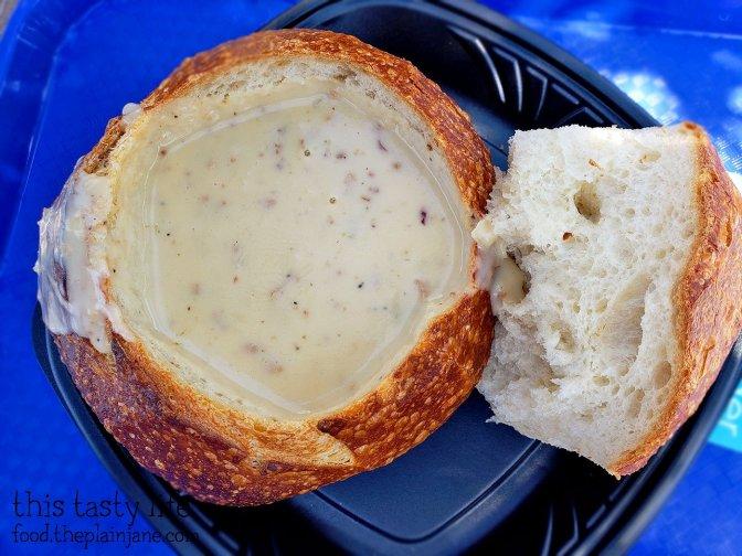 Bacon Cheddar Ale Soup in a Bread Bowl at Disney California Adventure