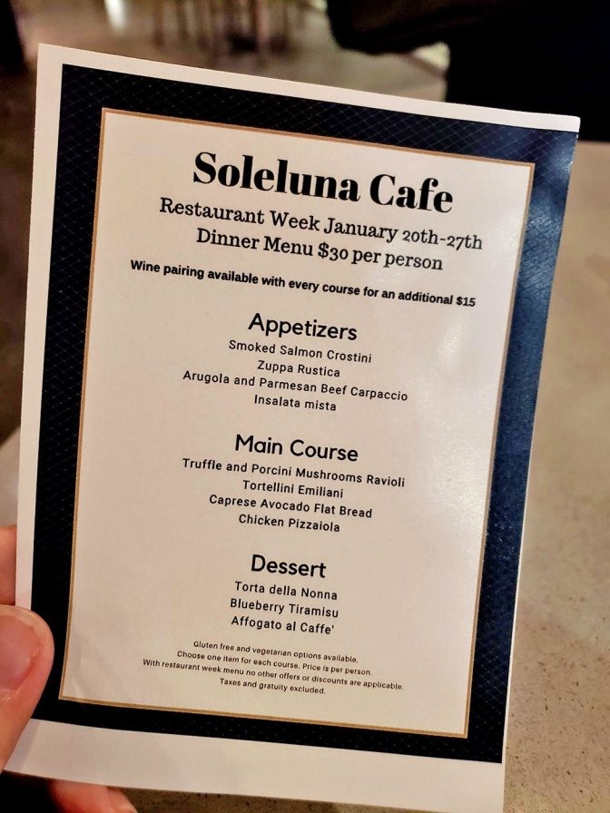 San Diego Restaurant Week Menu at Soleluna Cafe - San Diego, CA