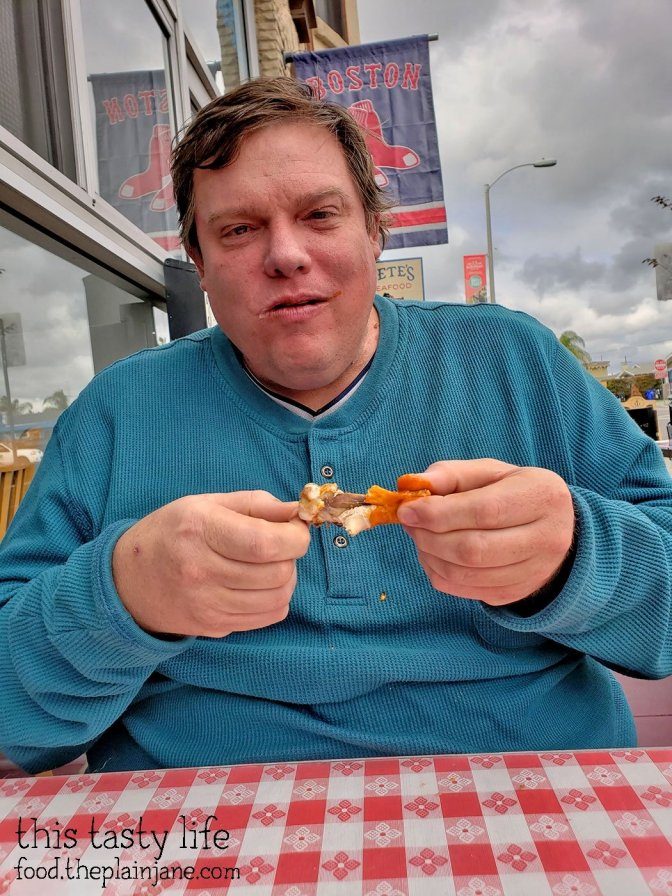 Jake eating wings at Pete's Seafood - North Park - San Diego, CA