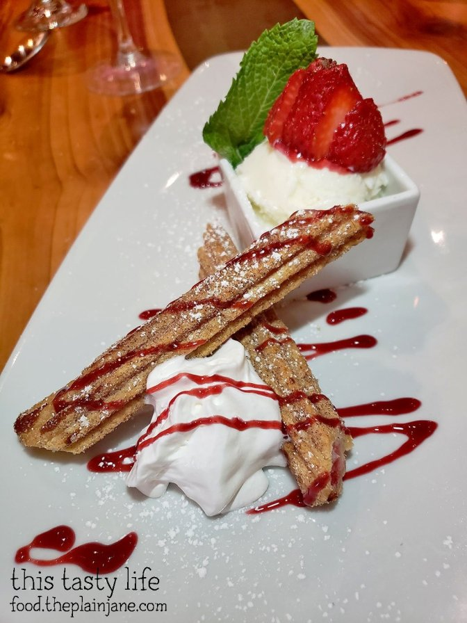 Strawberry Churros with Ice Cream