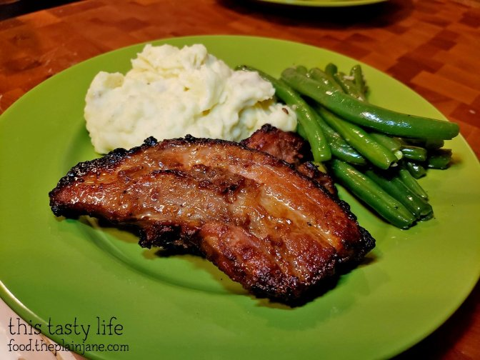Potatoes, green beans and Korean Style Pork Belly