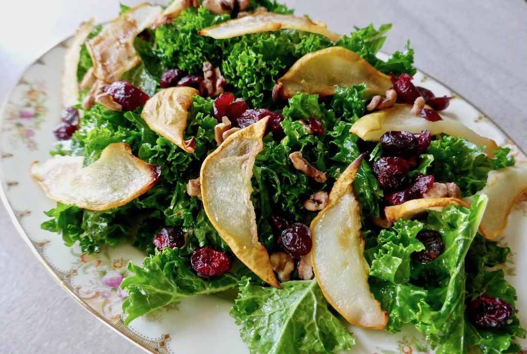 Roasted+pear+cranberry+salad