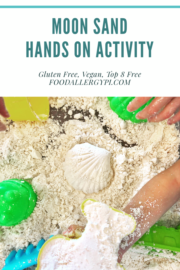Moon Sand Gluten Free, Vegan & Top 8 Free Great Homeschool Hands On Activity for the Letter Mm and learning about the moon!