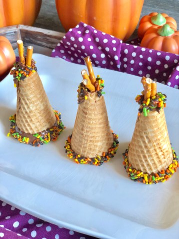 Gluten Free, Vegan, Dairy Free, Egg Free, Peanut Free, Tree Nut Free Allergy Friendly Ice Cream Cone Teepee's are a great kid friendly Thanksgiving holiday treat, snack or dessert