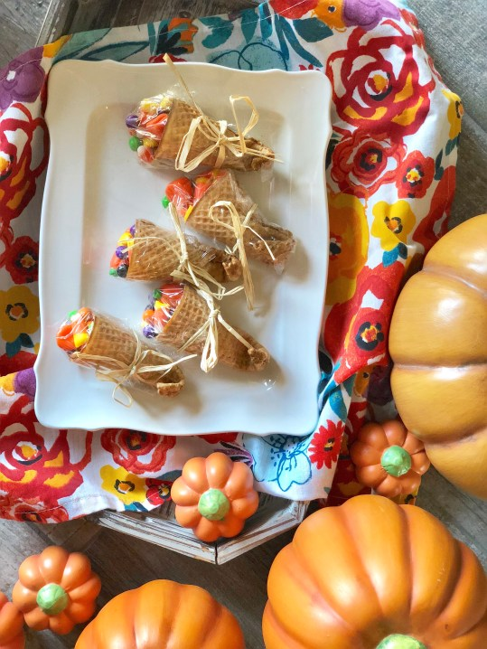 Gluten Free, Dairy Free, Peanut Free, Tree Nut Free Allergy Friendly Ice Cream Cone Cornucopia's are a great kid friendly Thanksgiving holiday treat, snack or dessert