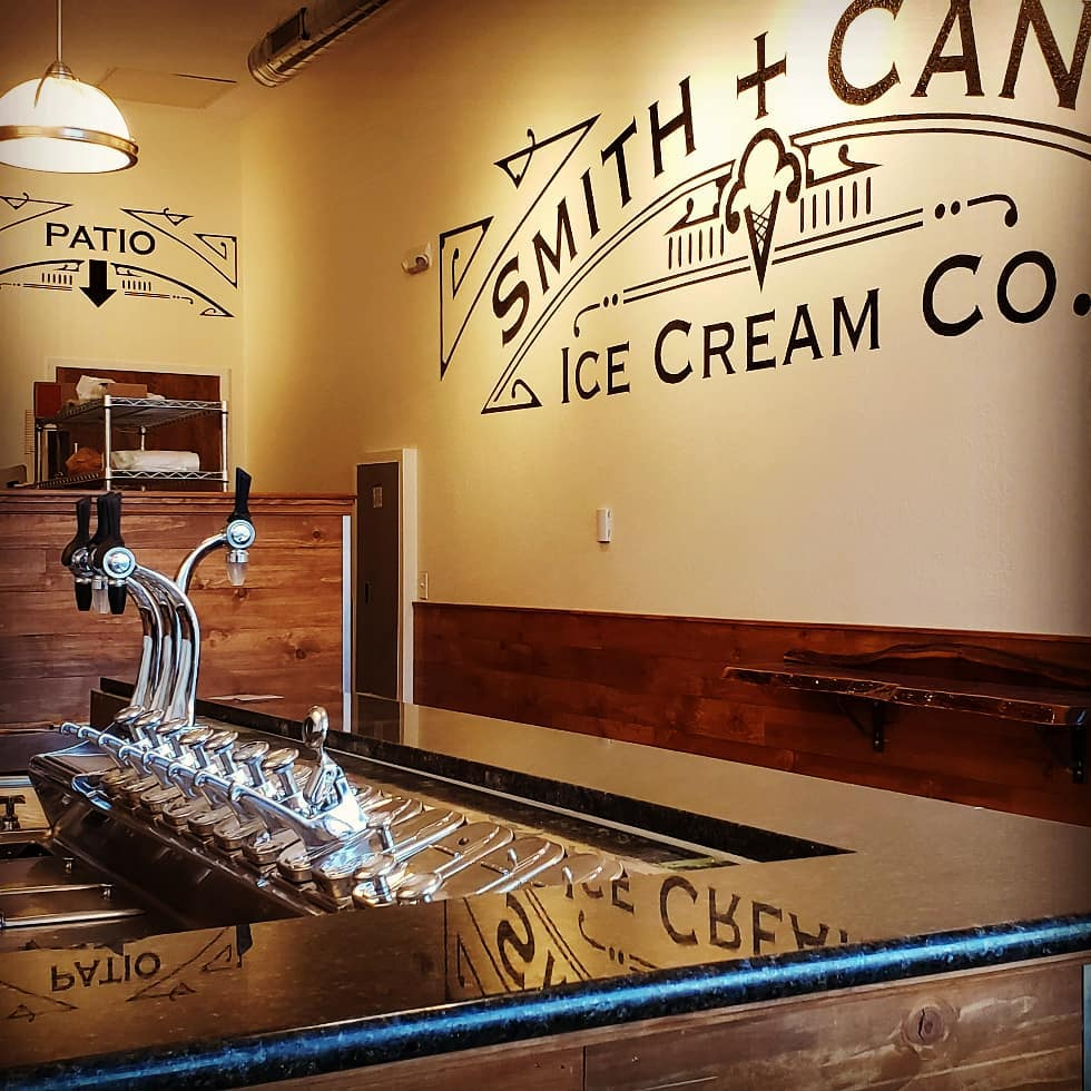 The beautiful inside of Smith + Canon Ice Cream Co. in Denver, CO