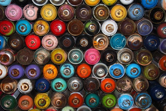 Hundreds of spray paint cans