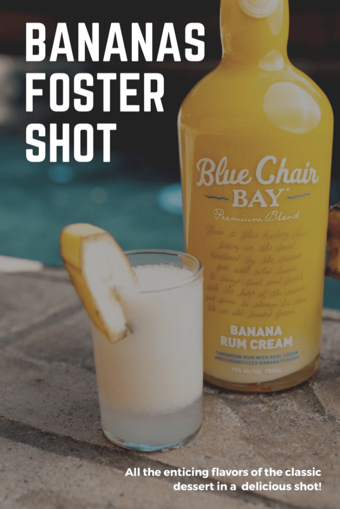 A bottle of Banana Rum Cream and Bananas Foster Shot sitting next to the pool.