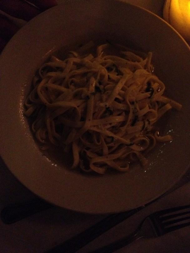 Oil & garlic on homemade egg linguine