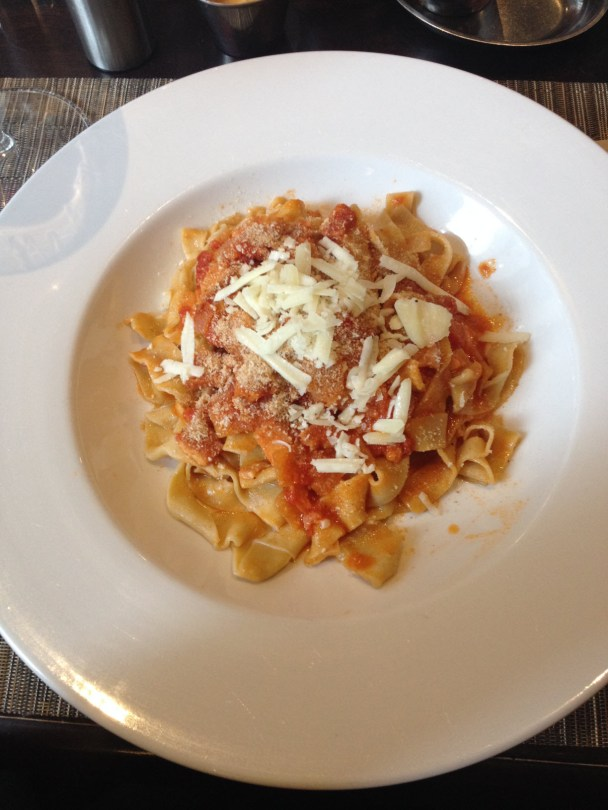 House-made fettucine with delicately spicy Ameritriciana sauce