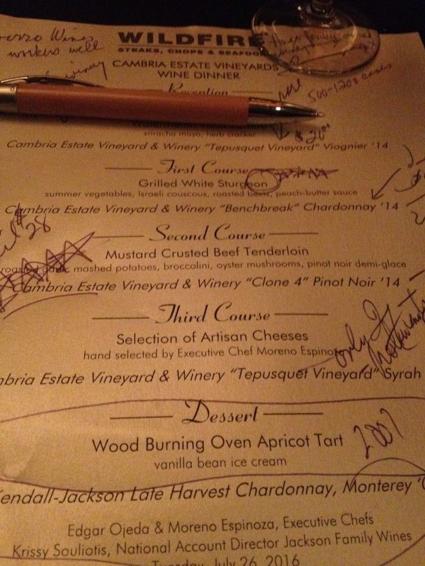 Wildfire Cambria menu