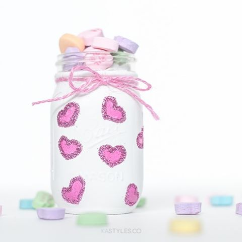 Valentine's Day Glitter Mason Jars